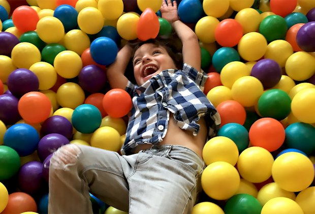It always a fun time in the ball pit at the Chelsea Piers Toddler Gym. Photo by Sara Marentette