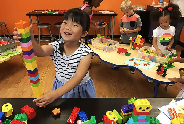 Kids can build with LEGOs, KEVA planks, Magna-Tiles, and more at Snapology's new Discovery Center.