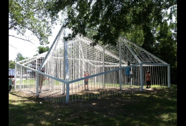 Kids love exploring Socrates Sculpture Park's large-scale interactive art installations