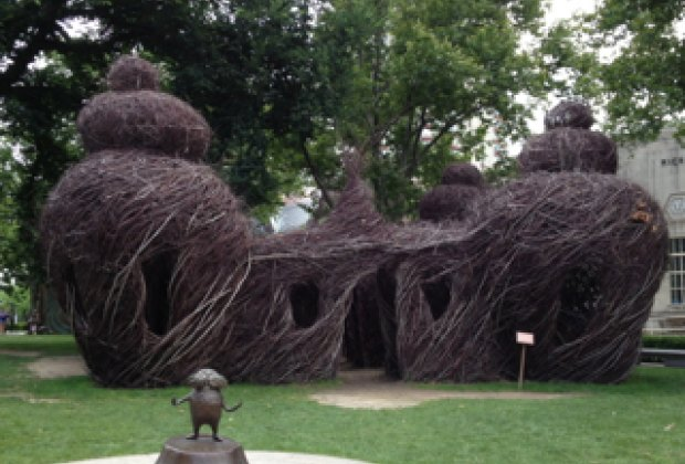 The Lorax maze in the Springfield Museums Quadrangle