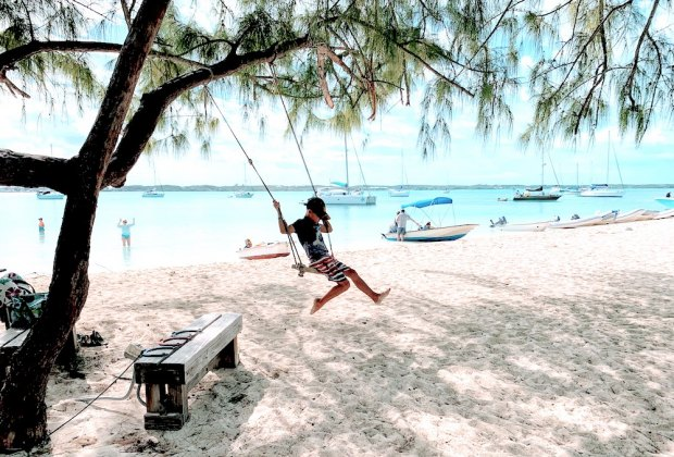 The Bahamas have many islands beyond Nassau for visiting. We enjoyed restaurants and play at Stocking Island. Photo by Anna Fader