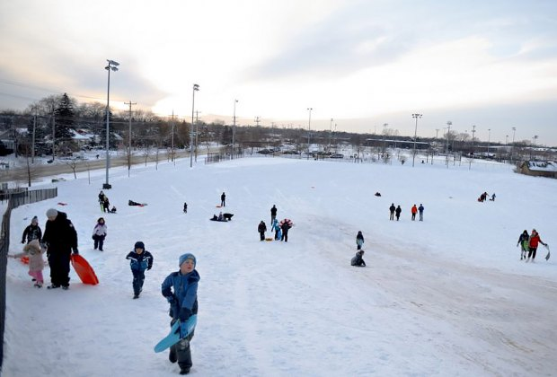 Sledding at Techny Prarie Park Fields