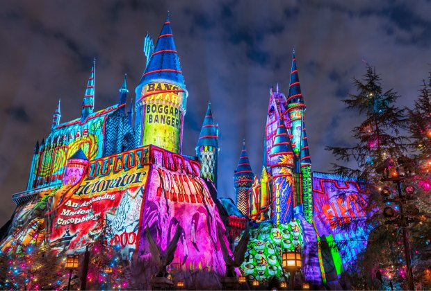 The Magic of Christmas gets quite colorful at Hogwarts Castle at Universal Orlando