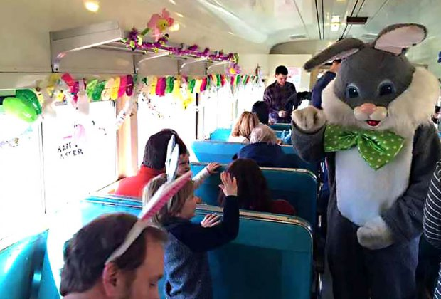 Visit with Mr. E. Bunny on the Easter Bunny Train Ride in Phillipsburg. Photo courtesy of the event