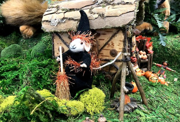 The Woodland Halloween Display moves outside