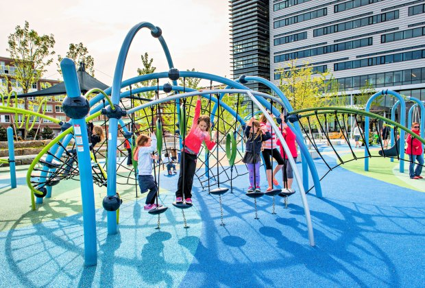 Mayor Thomas M. Menino Park features one of the coolest climbers in Boston! Photo courtesy of Landscape Structures Inc.