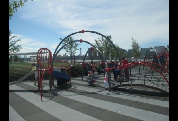 The toddler area of the playground