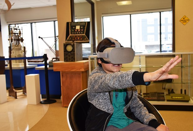 Virtual-reality goggles transport kids to another world.