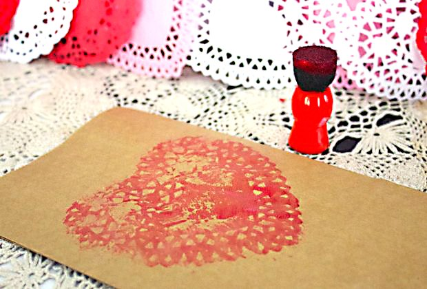 Doilies make beautiful stamps for paper or shirts for Valentine's Day.