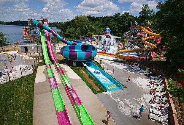 Quassy water park's slide city