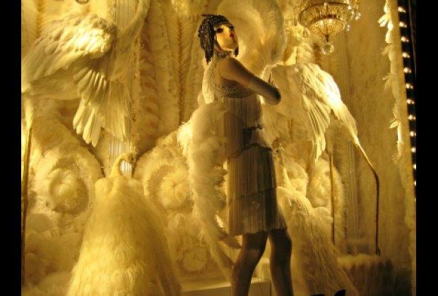 Stunning white peacocks at Bergdorf Goodman