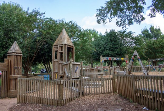 Wills Park Playground consists of slides, monkey bars, bridges, towers and swings Atlanta Playground