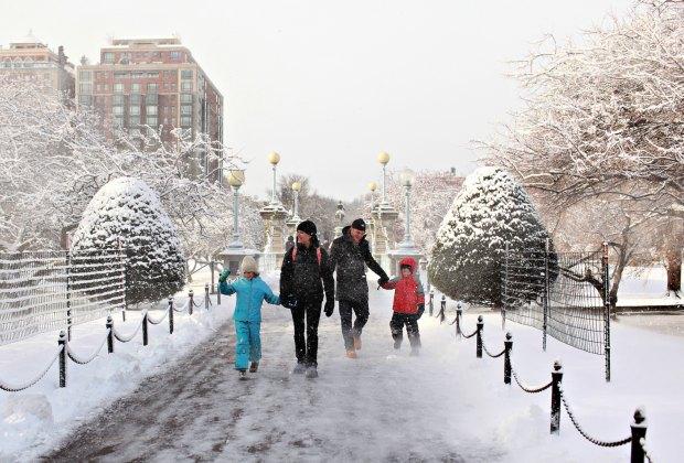 Winter walk in the Public Garden. Photo courtesy of Massachusetts Office of Travel & Tourism