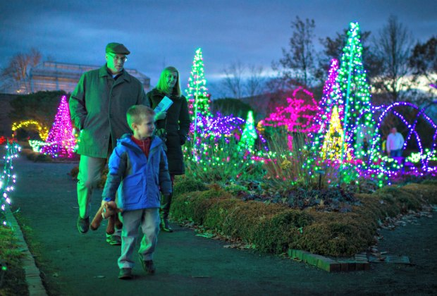 There are warming fires and children's music along with beautiful light displays at Tower Hill Botanical Garden. Photo by Troy Thompson courtesy of the garden.