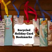 Things to do with kids: Kids Craft: Recycled Holiday Card Bookmarks