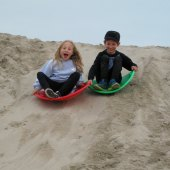 Things to do with kids: Sand Sledding - Winter Fun on the Sand Berms at Venice Beach