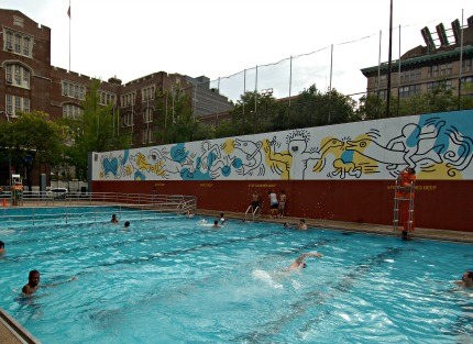 Tony Dapolito Recreation Center Pool Mural by Keith Haring